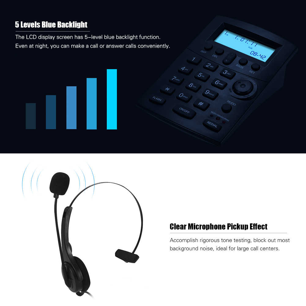 HST-8000 English Telephone Set Call Center Telephone With Protecting Earphone Flexible Microphone LCD Display Pre-dial Call Back