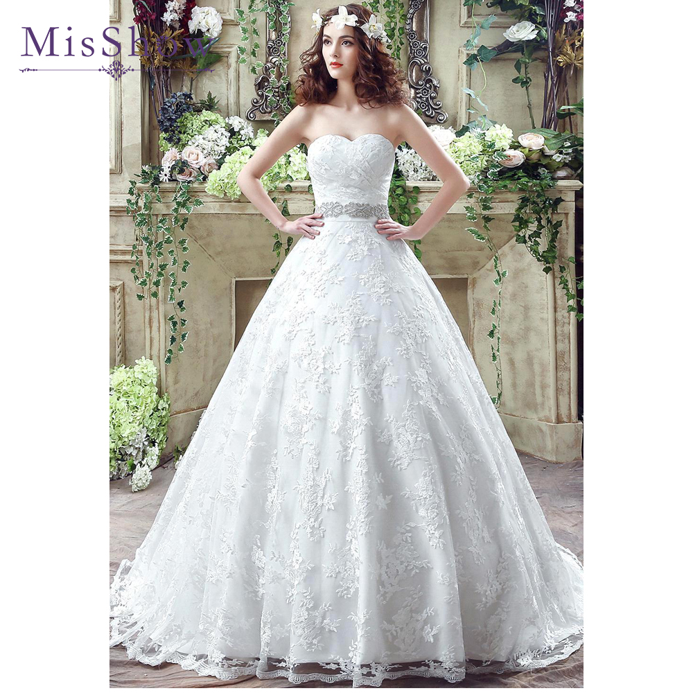 New White Ivory Wedding Dresses Ball Gown Applique Bridal: 2019 Ball Gown Lace Appliques Beading Belt White Ivory