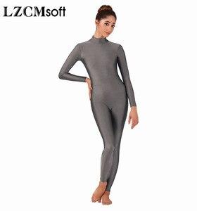 Image 2 - LZCMsoft Body pour femme, combinaison de Ballet à manches longues en Lycra, Spandex, costume de danse, costume de Ballet