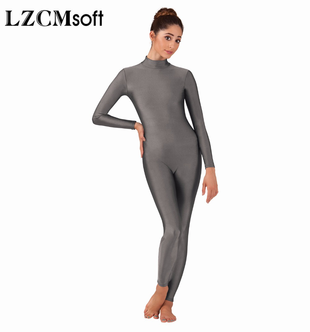 Image 2 - LZCMsoft Women Full Body Mock Neck Long Sleeve Ballet Unitards Bodysuit Adult Lycra Spandex Dance Suit Show Costumes-in Ballet from Novelty & Special Use