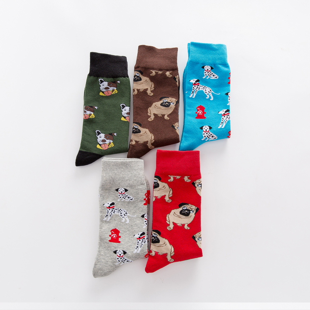Jhouson 1 pair Colorful Men's Combed cotton Funny Socks Novelty Casual Dog Pattern Crew Skateboard Socks For Wedding Gifts 3