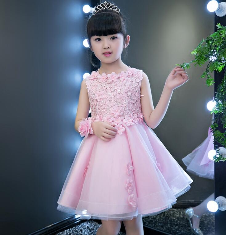 Little Girls Wedding Gowns: Pink Lace Flower Girl Dress Appliques Pageant Wedding