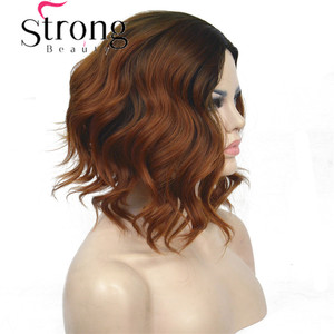 Image 2 - StrongBeauty Short Black/Brown Ombre Bob, Side Part, No Bangs Full Synthetic Wig COLOUR CHOICES