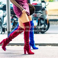 2016 fall Velvet Over-the-Knee Boots bright blue red comfortable velet  thigh high boots bolck heel women's fashion boots