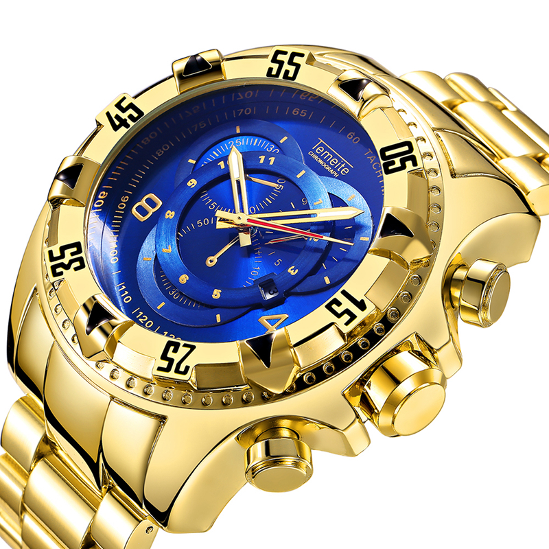 2019 Golden Large Dial <font><b>52mm</b></font> Men's <font><b>watches</b></font> Luxury Brand Fashion Sport Quartz Wristwatch Men Waterproof Military Relogio Masculino image
