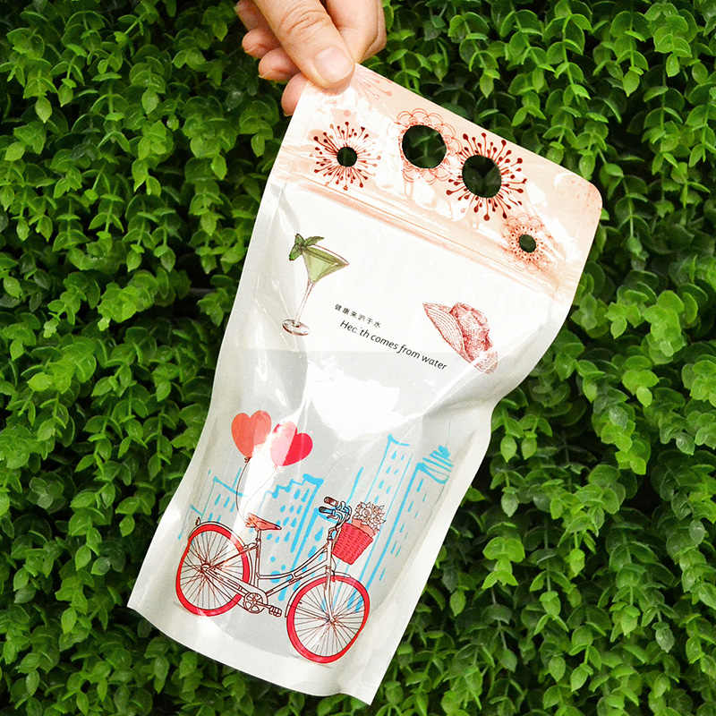 clear self sealing bags fruit juice Tea with milk Coffee Beverage bag Food grade plastic bags for clothes 13*23+4 100pcs