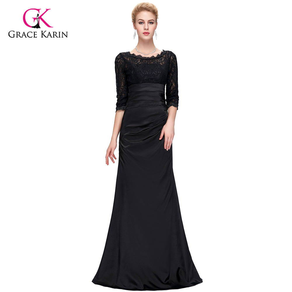 Grace Karin Long Red Evening Dress Boat Neck Black Lace Mother of ...