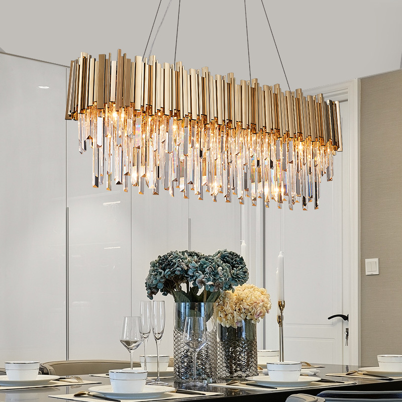 Youlaike Rectangle Modern Crystal Chandelier Dining Room Luxury Living LED Lighting Fixture Large Kitchen Lustre Cristal In Chandeliers From Lights