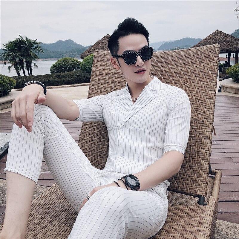 Double boutonnage Costume d'été Costume Mariage Homme 2019 noir blanc gris bleu rayure Costume ensemble fumer Uomo Trajes De Hombre