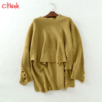 Fashion Hole Asymmetry Warm Sweaters Women Winter 2018 Stylish Solid Batwing Sleeve Knitted Pullovers For Woman Slim Sweater