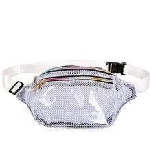 Transparent Bag Ladies Waist Fanny Pack Women PVC Grid Belt Zipper Bags Chest Tote Fashion