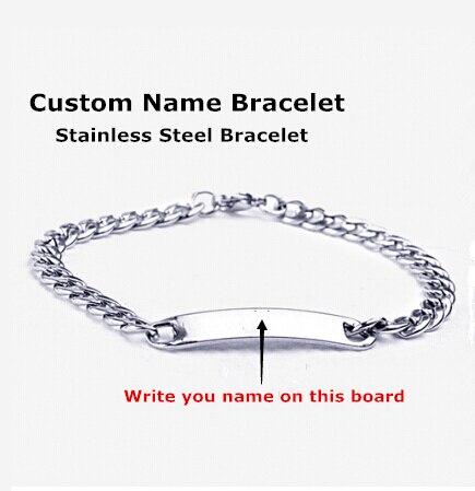 Customize Name Bracelet 316 Stainless Steel Monogram Bracelet Bangles Men stainless steel bracelets Burn Letters Bracelets