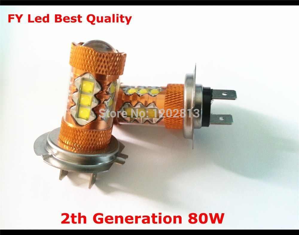 2 ピース/ロット 2th 世代 80 ワット cree led H7 車 & 車両走行電球/drl 白 canbus と投光器レンズ