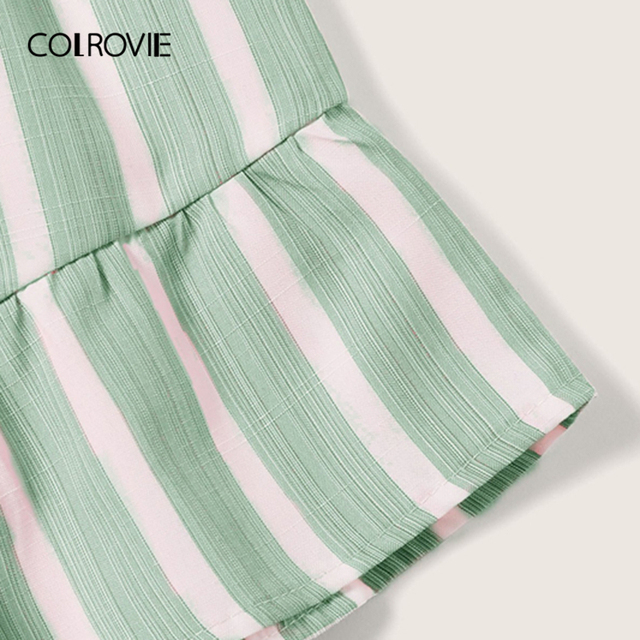 COLROVIE Plus Size Green Striped Ruffle Hem Spaghetti Strap Playsuits Women Summer Sleeveless Button Beach Wear Belted Romper 2