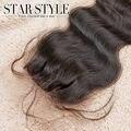 Envío libre brasileño virgin hair body wave lace closure 4x4 tamaño cordón suizo lleno y grueso 3 parting cierres
