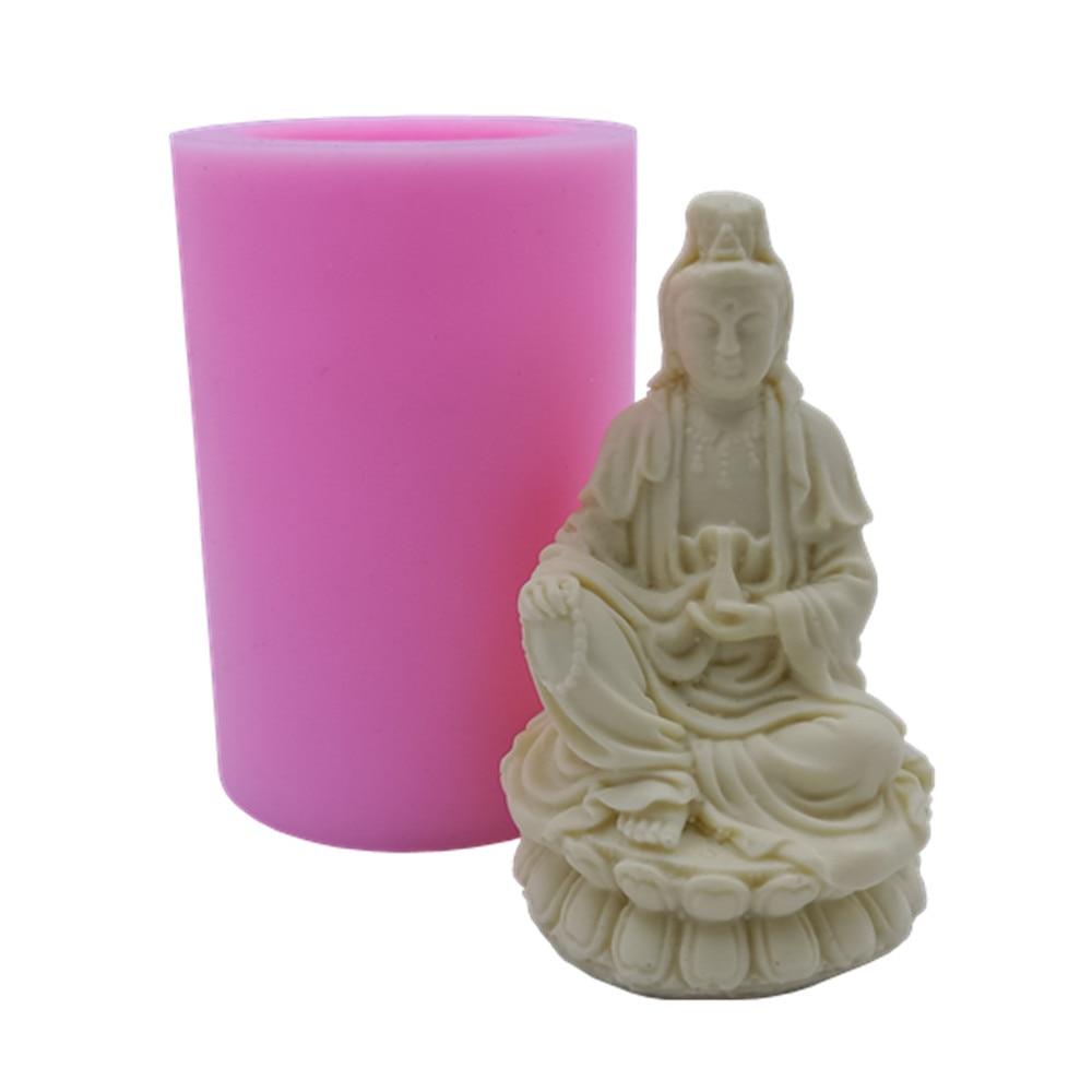 Chinese Bodhisattva Silicone Candle Mold Avalokitesvara Candle Mould Buddha Silicone Mold For Candles