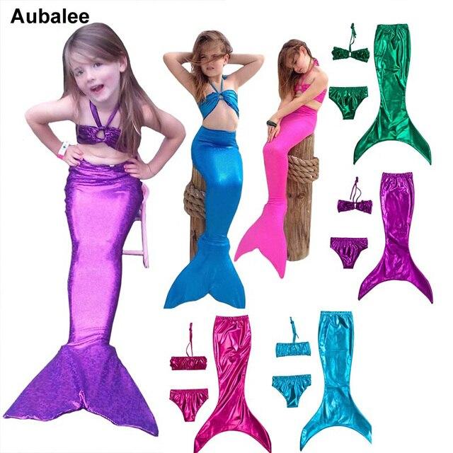 56e7aa99f Nuevo traje de baño 3 unids niños lindos niños niñas dorado sirena princesa  Ariel bikini pequeña