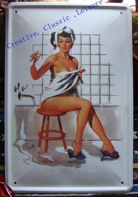 Free shipping Variety of sexy housewife metal poster tin sign, sexy woman metal sign for pub bar hotel wall decor ,30x20cm