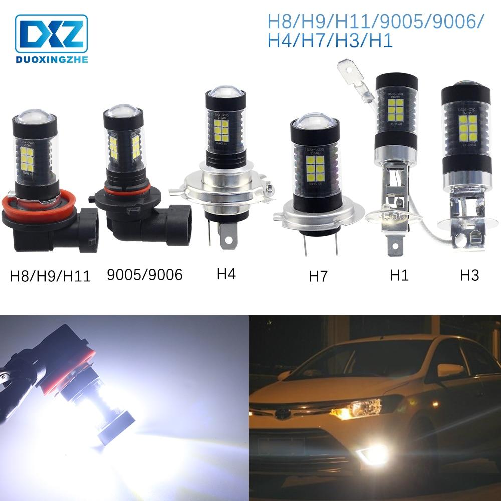 DXZ 1X Led Auto Fog Lights Lamp H1 H3 H4 H7 H8/H11/H9 9005/HB3 9006/HB4 12v Daytime Running Lights 3030 White 6000K Accessories