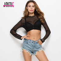 Jastie Cropped Mesh Shirt 2017 Long Sleeve Hollow Out Sexy Black Mesh Crop Top Tank Summer