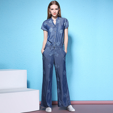 Free Shipping New Fashion Formal Short Sleeve Women Wide Leg Denim Flower Jumpsuit And Rompers Print S-L Thin Summer Trousers flower print wide leg smock bandeau jumpsuit