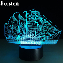 2017 Novelty 3D Sailing Boat Night Lights LED Table Lamp 7 Colors Changeable USB Desk Toy Light For Kids Children Gift
