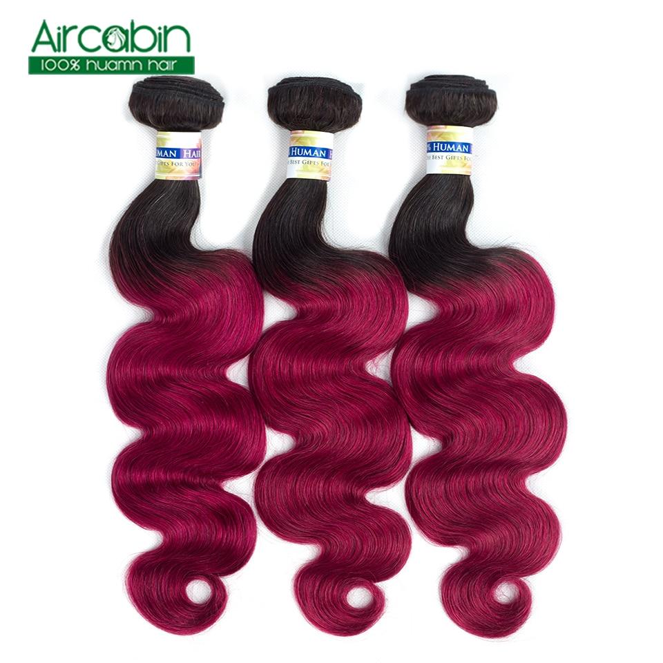 Pre colored 3 Bundles Ombre Brazilian Body Wave Hair T1B Burgundy Bundles Aircabin Non Remy Human