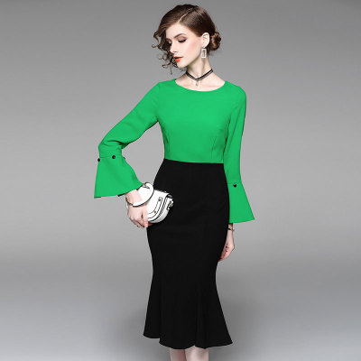 2018 new arrival Green long dress spring beautiful women fashion famous ladys fishtail dress officelady empire patchwork sheath