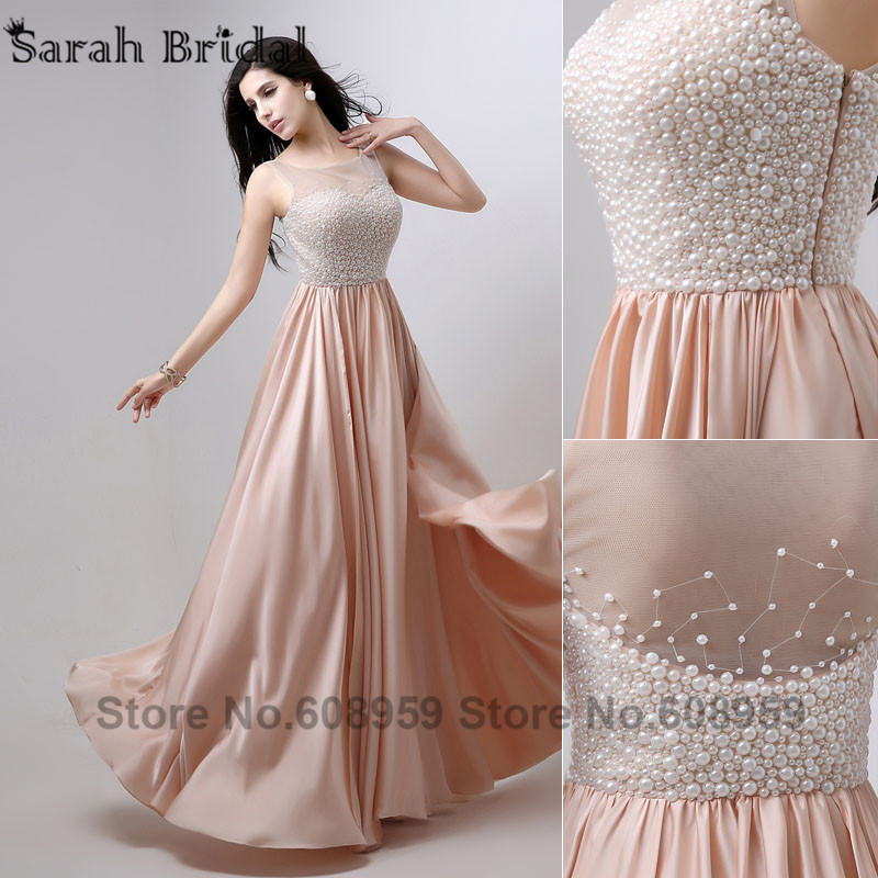 In Stock Long Elegant Evening With Pearls 2017 A Line Chiffon Prom Gown Tank Pleat Robe De Soiree Aj029 From