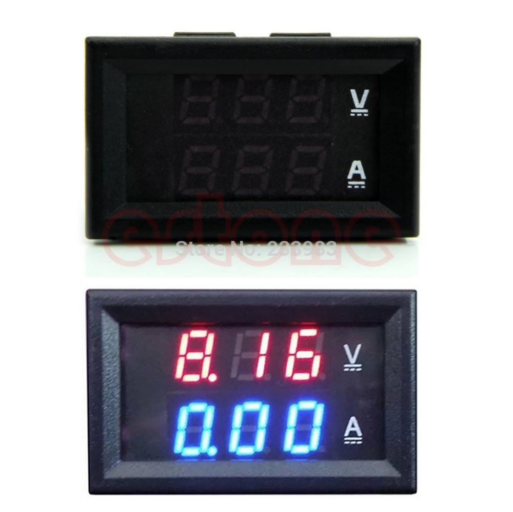 DC 100V 10A Voltmeter Ammeter Blue Red LED Amp Dual Digital Volt Meter Gauge L057 new