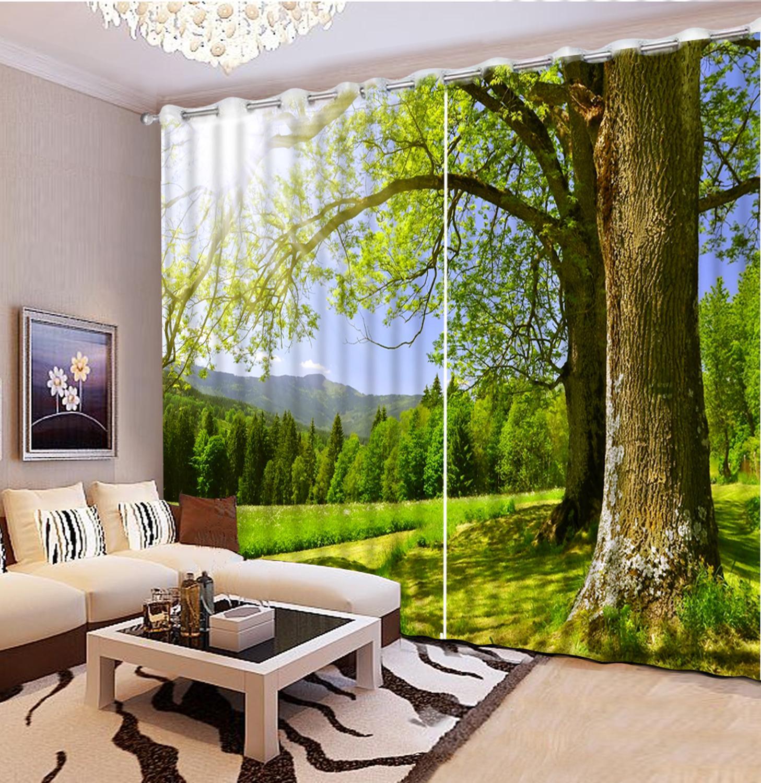 Personnaliser photo rideaux 3d occultant 3D fenêtre rideau salon mariage grand arbre paysage japonais Style rideaux