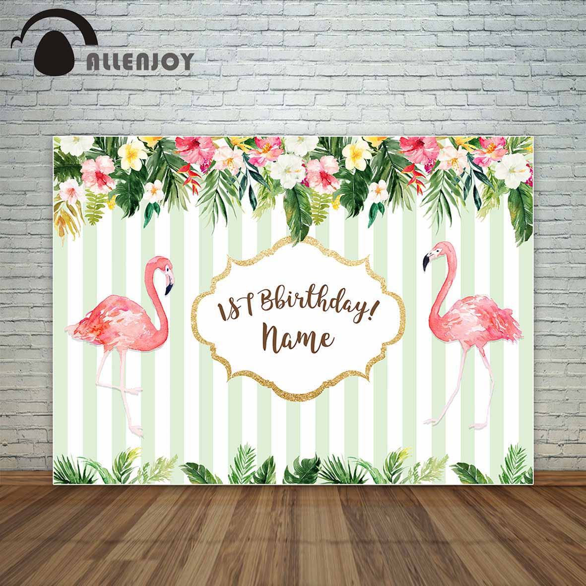 Allenjoy Birthday Custom Backdrop Flamingo Tropical Theme