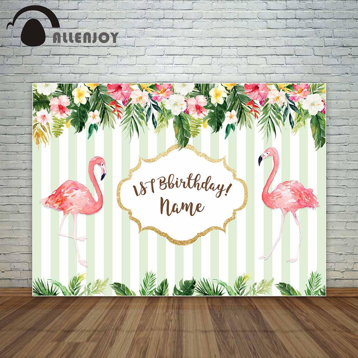 Allenjoy birthday custom backdrop flamingo tropical theme background flowers white and green stripes photography backdrops 3 5m vinyl custom photography backdrops prop indoor theme studio background gc 4272