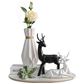 Simulation Golden Angle Deer Vase Statue Ceramic Craftwork Animals Desktop Living Room Wine Cabinet Wall Hanging Decor L2901
