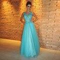 Robe de soirée 2017 vestido de noche largo dressesturquoise lujo brillante rhinestone hecho a mano que rebordea tulle partido prom dress