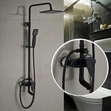 Ванная комната В стену 8 «Квадрат Дождь Смеситель Для Душа Установить Поворотный Ванна Излив Для Ванны Смесители + Ручной Душ