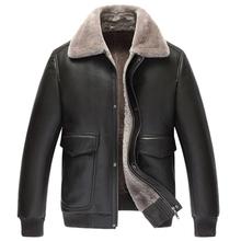 Pilot Leather Jacket Men s Shearling Jacket Short Jacket Lapel Outerwear Genuine Leather Mens Flight Jacket