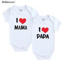 Боди для новорожденных; 2 шт./лот; хлопковый комбинезон с принтом «I Love Papa Mama»; Летний комбинезон; одежда для маленьких девочек