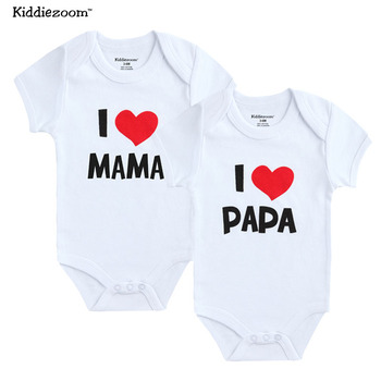 Newborn Bodysuit 2Pcs/lot Cotton I Love Papa Mama Design Printing Summer Bodys Clothing Jumpsuit Brief Baby Girl Clothes
