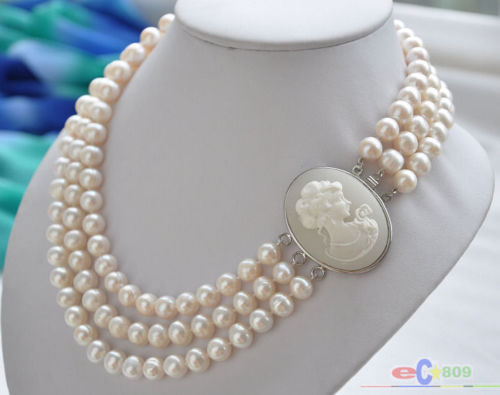 Hot selling free shipping******3row 17--19 10mm WHITE ROUND FRESHWATER PEARL NECKLACEHot selling free shipping******3row 17--19 10mm WHITE ROUND FRESHWATER PEARL NECKLACE