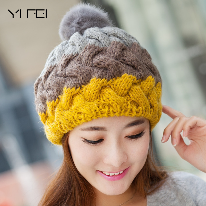 YIFEI Women's Winter Hat Knitted Warm Beanie Female Fashion Skullies Casual Outdoor Mask Ski Caps Thick Warm Hats For Women fibonacci winter hat knitted wool beanies skullies casual outdoor ski caps high quality thick solid warm hats for women