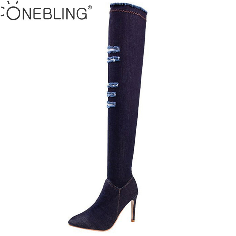 ONE BLING Women Over The Knee Thigh Heels Long Boots Cut-outs Pointed Toe Sexy Jeans High Heels Boots Denims Gladiator Boots hot boots women sexy black thigh high boots peep toe soft leather back zip high heels over the knee boots gladiator sandal boots