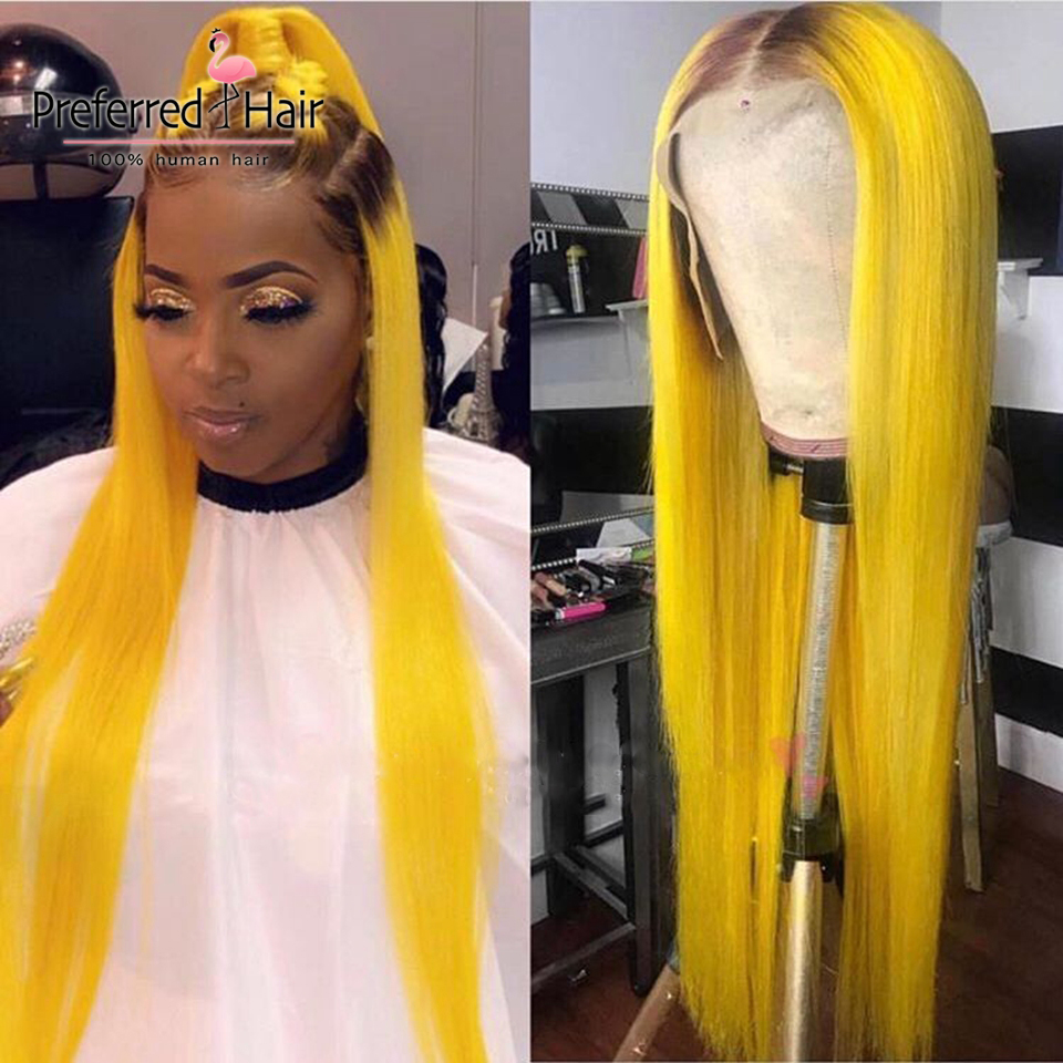 Preferred Transparent Lace Wigs Green Color Brazilian Remy Straight 613 Lace Front Wig Ombre Human Hair Wigs For Black Women