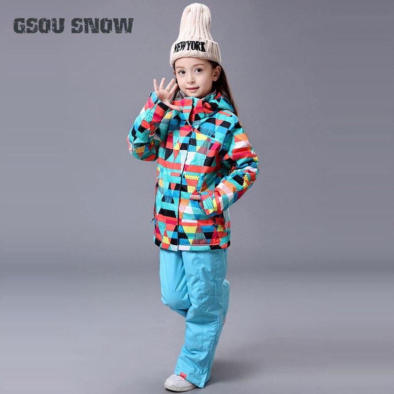 2019 Meninas Terno De Esqui GSOU NEVE Marca Calça Jaqueta de Esqui Desgaste do Esqui Snowboard À Prova D' Água Esporte Ao Ar Livre À Prova de Vento de Super Quentes Terno conjunto - 2