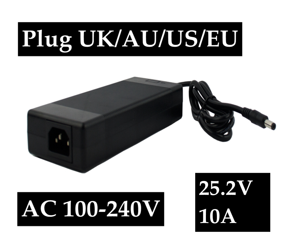 все цены на 25.2V 10A polymer lithium battery charger Portable Charger 100-240V EU/AU/US/UK Plug For Electric Bike онлайн