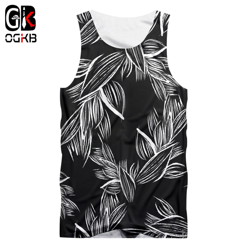 OGKB Male Sleeveless Shirt Hot Fitness  3D Tank Tops Print Forest Leaves Casual Plus Size Tops Tees Man Spring Vest Dropshipping
