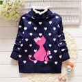 Hot sale baby girl clothing cute cartoon cat and heart-shaped pattern kids clothing for autumn and winter children's sweater