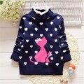 Venda quente do bebê roupa da menina bonito dos desenhos animados gato e coração-forma padrão crianças roupas para o outono e inverno crianças's camisola
