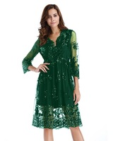 Wendywu A Line V Neck Sequined Cocktail Party Dresses Green 3/4 Sleeve Knee Length Vestidos de Festa Womens Casual Dress