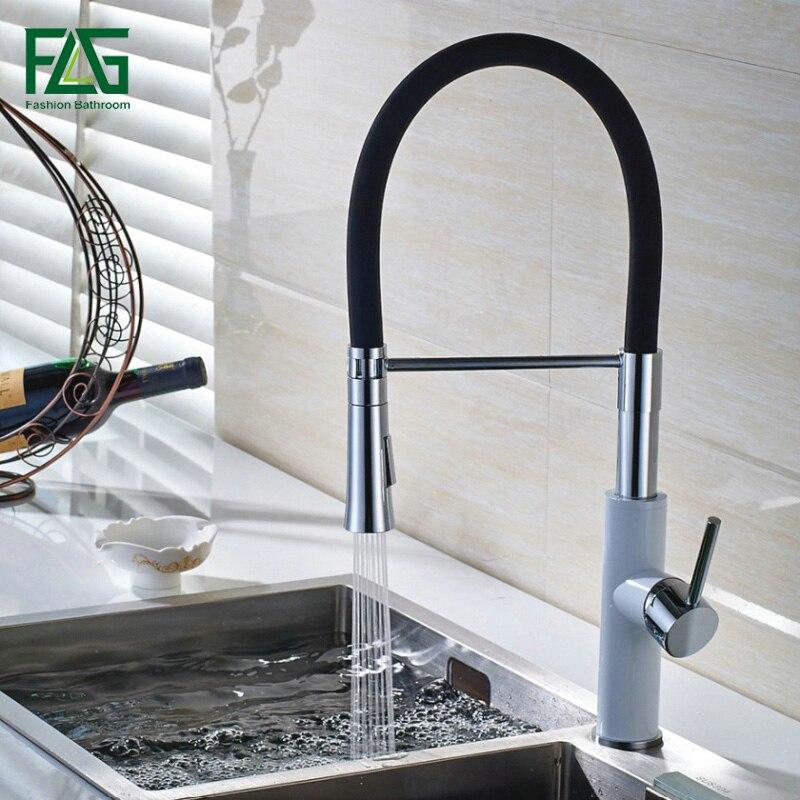 FLG Englisch Stil Küche Wasserhahn Weiß & Chrome All Around Drehen Swivel 2 Funktion Wasser Outlet Pull Out Sink mischbatterie C043-in Küchenarmaturen aus Heimwerkerbedarf bei AliExpress - 11.11_Doppel-11Tag der Singles 1